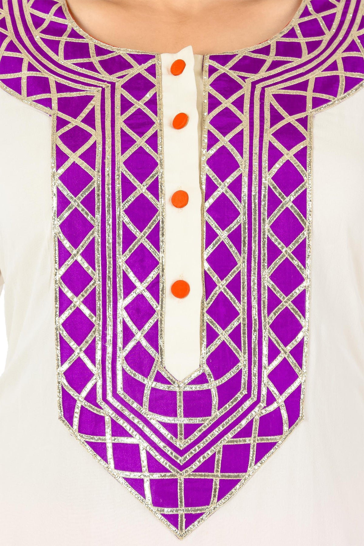 White, Orange And Purple Gota Kurta Set