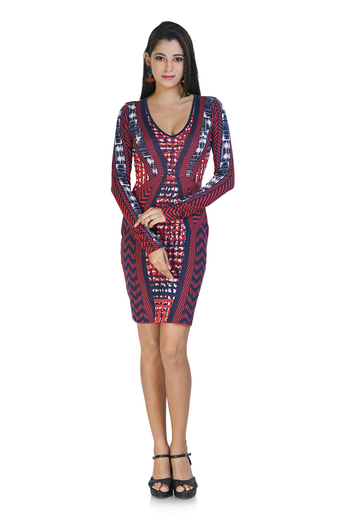 Red and blue knit dress that gives a flattering hourglass shape. The intrinsic patterns catch your eye and keep them intact.