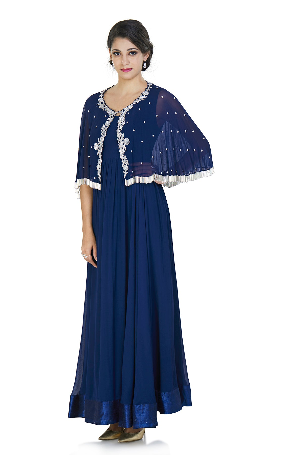 Dark blue georgette anarkali gown with a cape that is filled with intricate silver glass beads embroidery and tassels at the bottom.