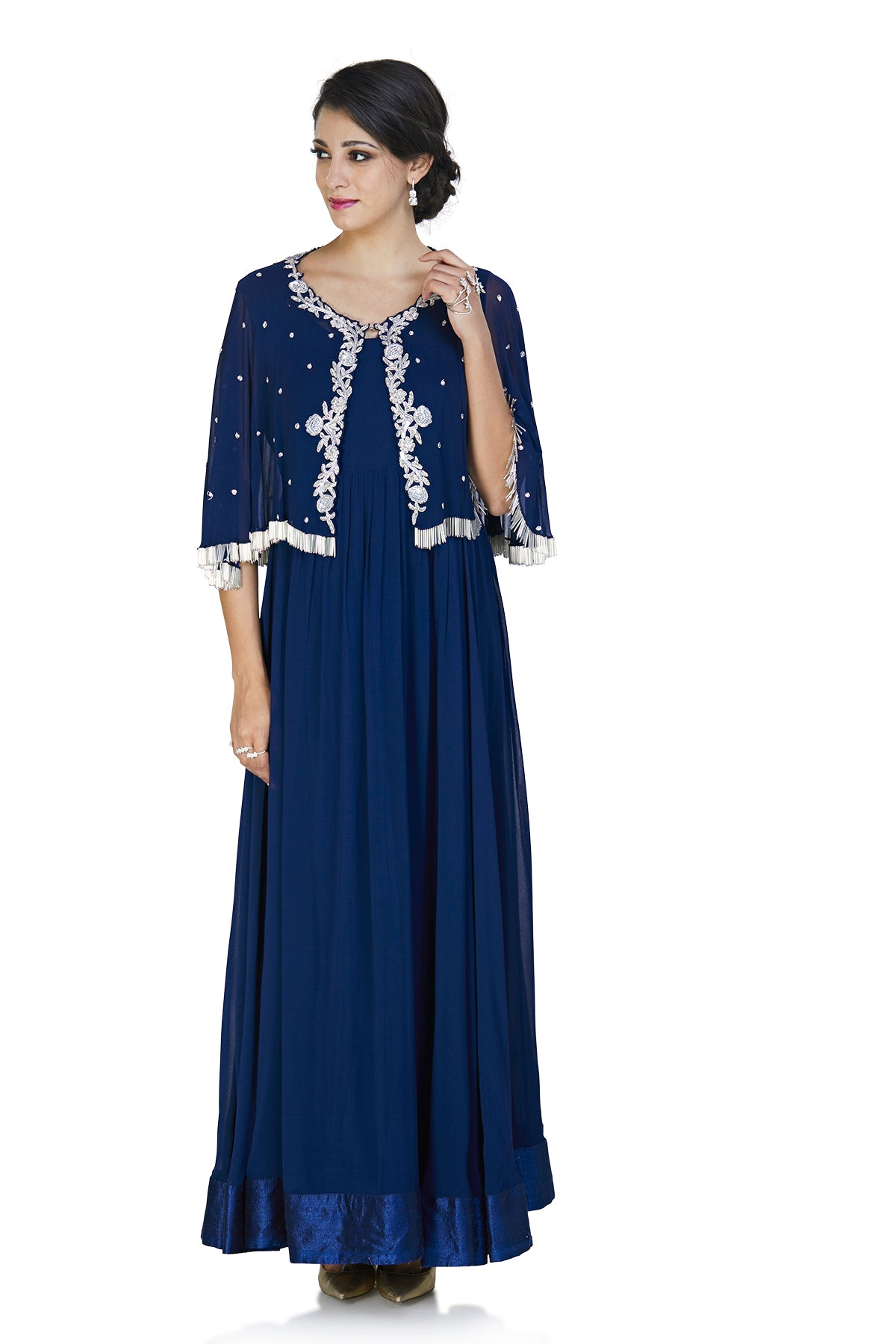 Dark blue Anarkali gown with cape
