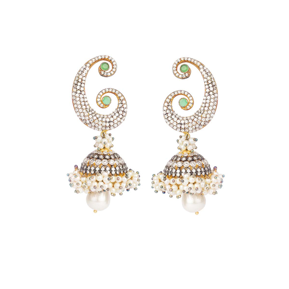 Bridge the beauty of modern and traditional with these antique gold mixed metal alloy earrings made jazzy with pearls and accented mint green studs.