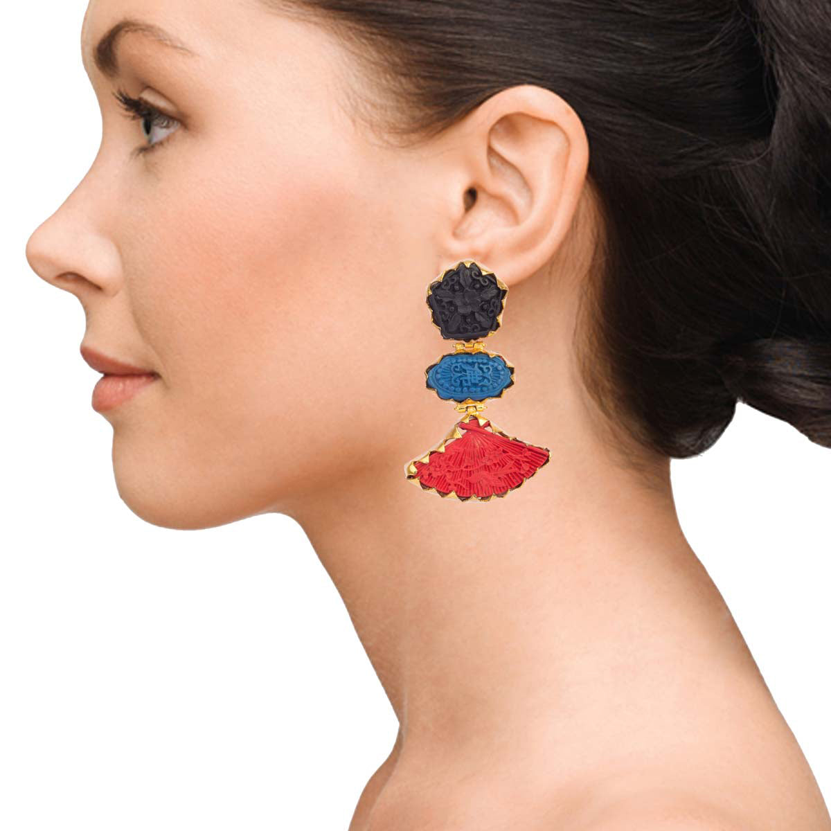 Black, Blue And Red Rock Earrings