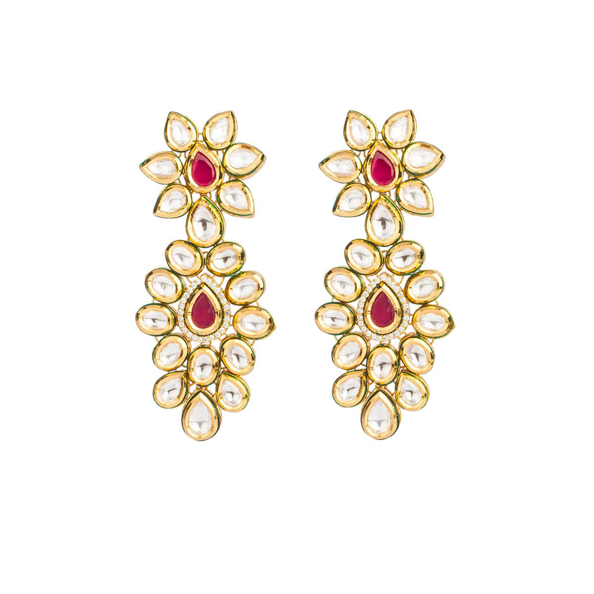 Intricately crafted and insanely stylish, these masterpieces are tall on simplicity and never short on style! They are made up of uncut red stones outlined by imitation diamonds.