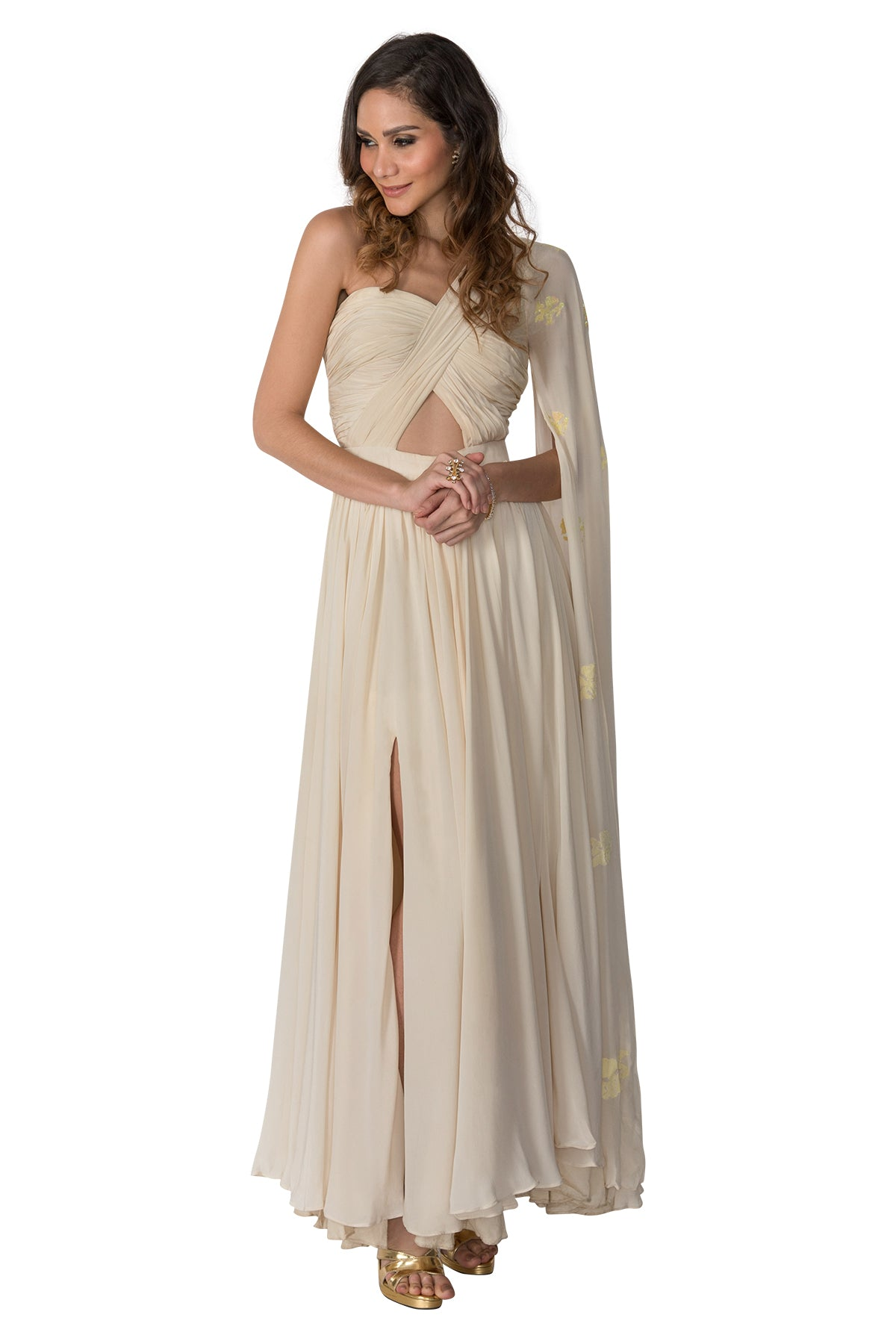 Butter Cream One Shoulder Gown