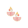 Go the eccentric way with these new-age ceramic earrings crafted with with glass stone and a red enamel jali sheet.