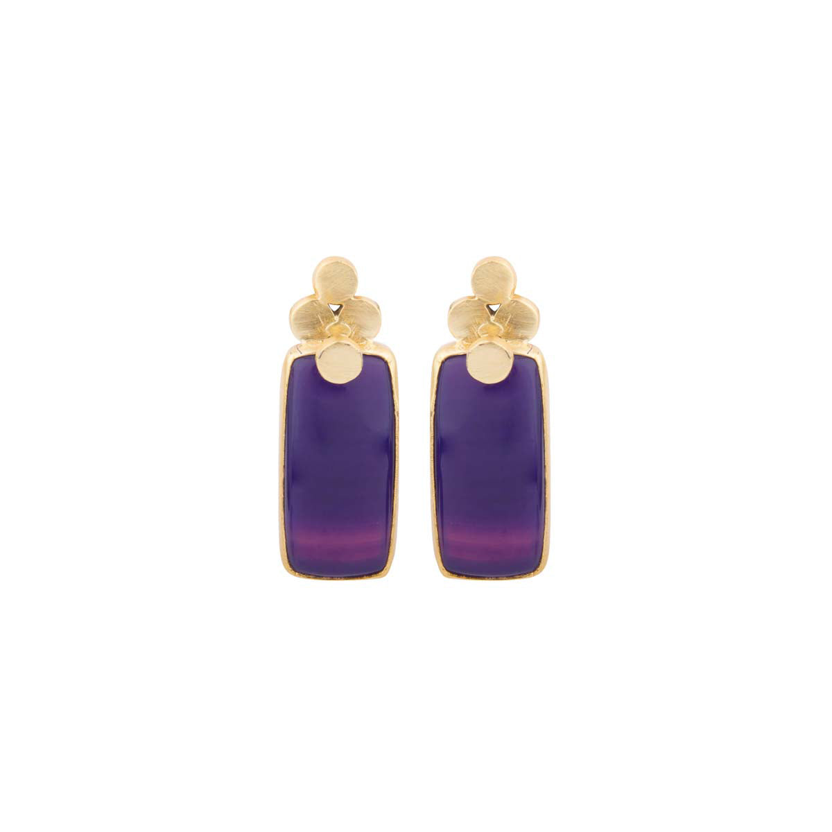 This royal piece is a four dot classic with purple striped agate made of brass and plated with 1 micron gold.