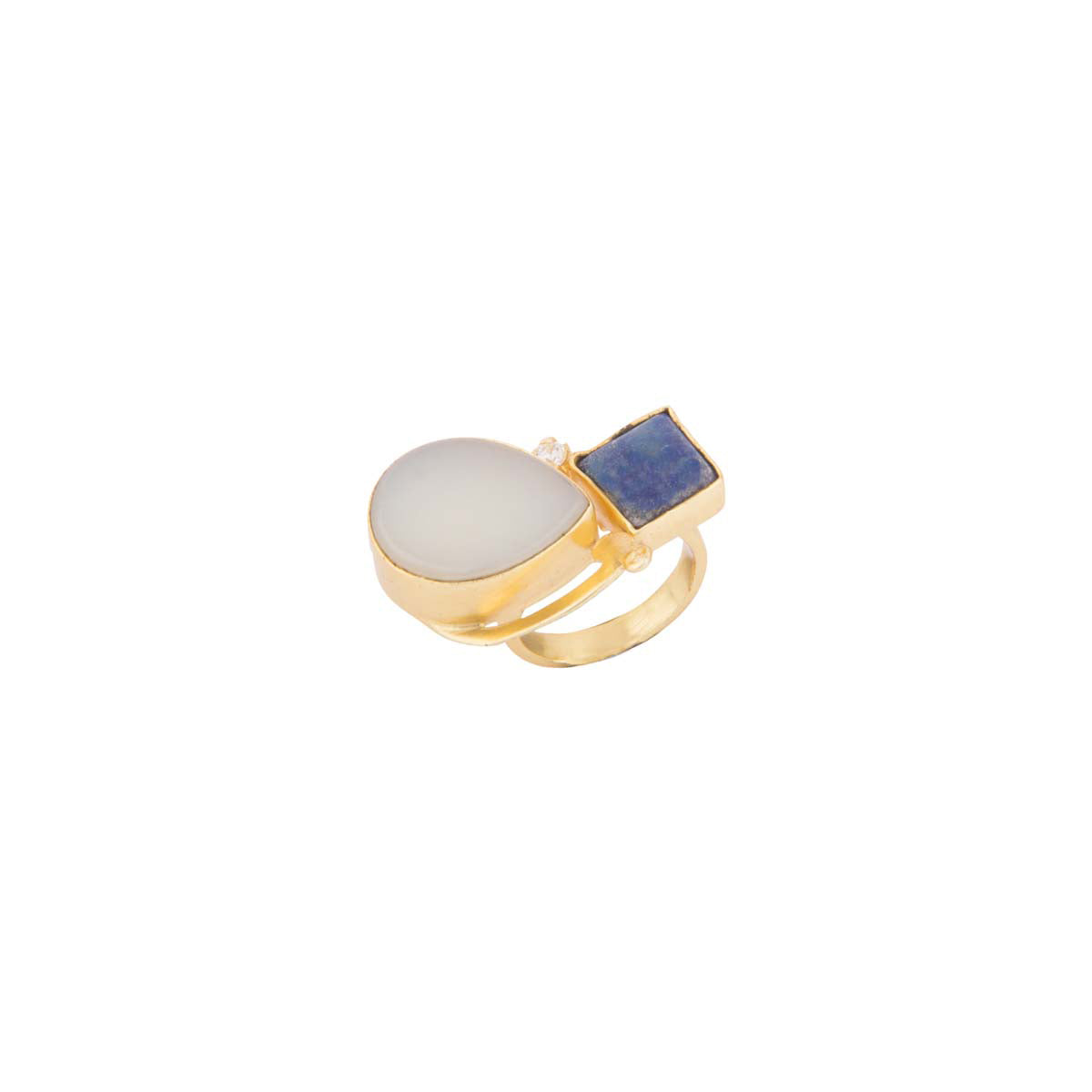In a color play of white & blue, decorate your hand with this statement adjustable ring.