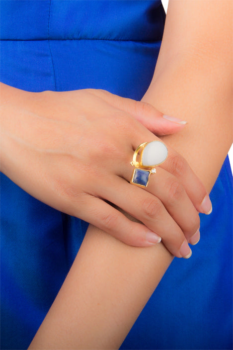 Ivory Blue Stone Statement Ring