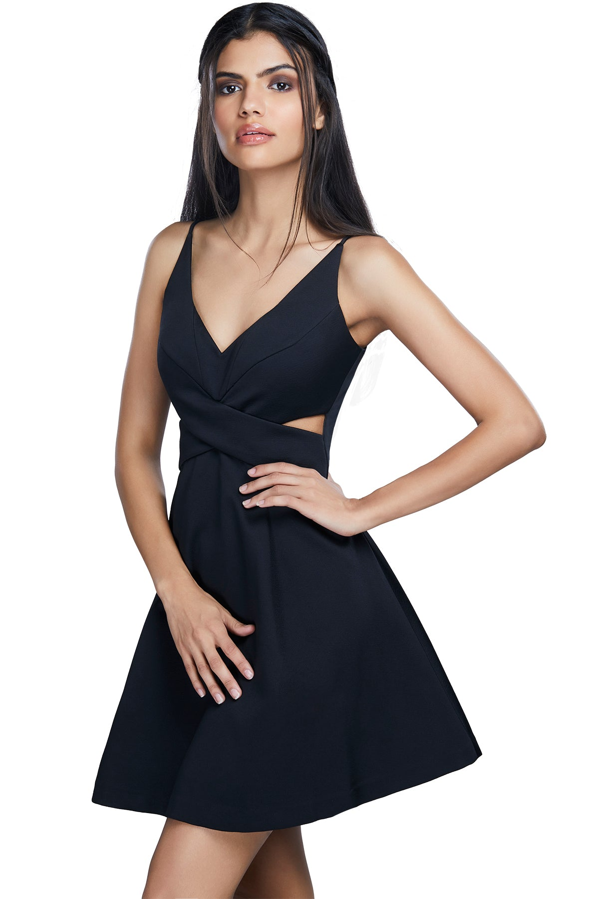 Play peak-a-boo in this flirty, fun black v-neck skater dress with cut-out at the waist.