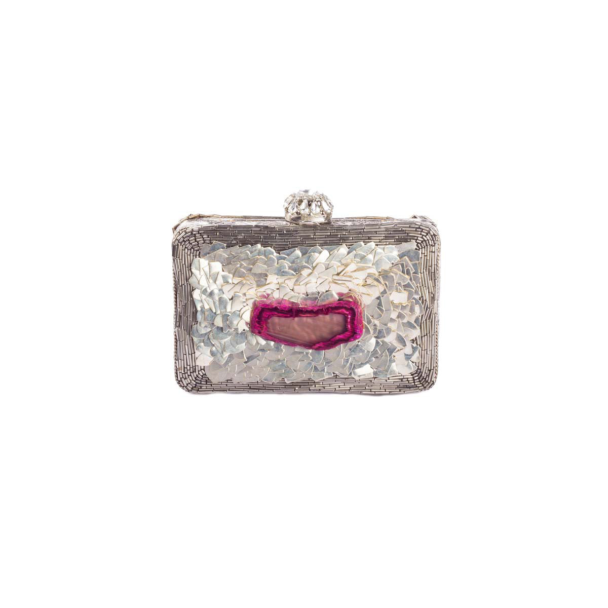 Unleash the bling-obsessed-diva within! Our silver metal clutch perfected with a pink moon rock will have the stars saluting your style!