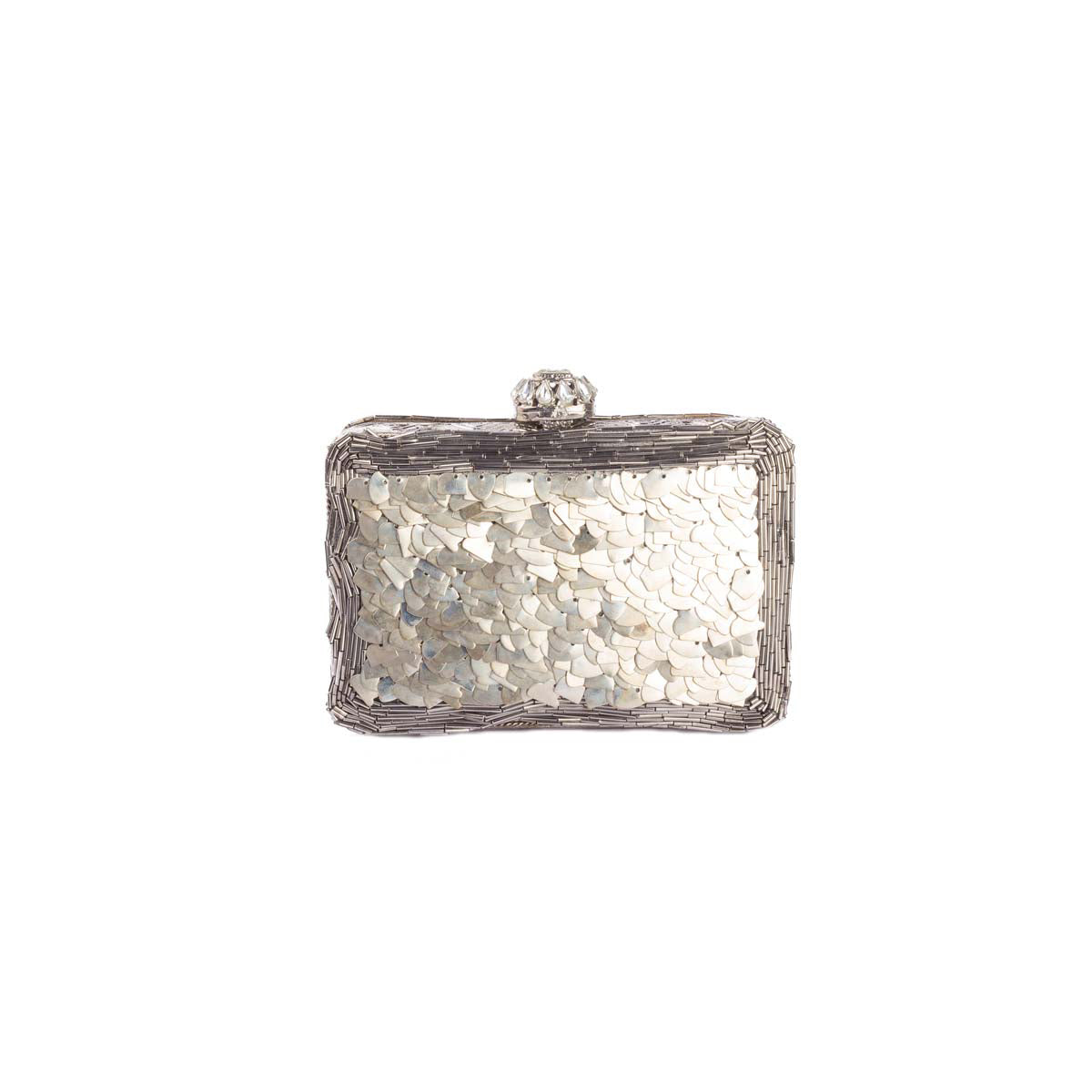 Silver Metal Clutch With Pink Moon Rock
