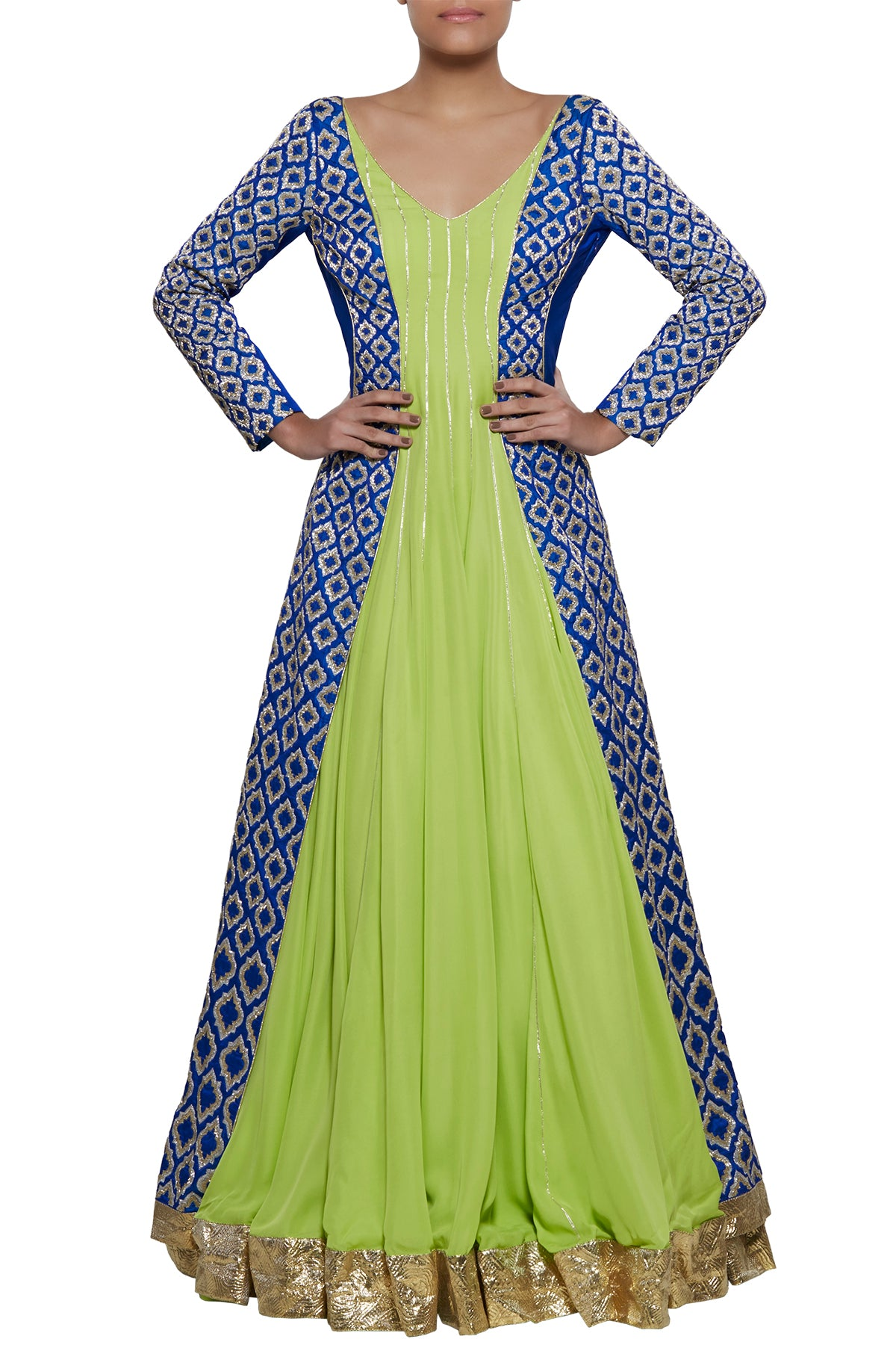 Sway the Stylease way in our effortless green drop-dead-down gown crafted in heavy georgette with its blue silk kardana embroidered jacket.