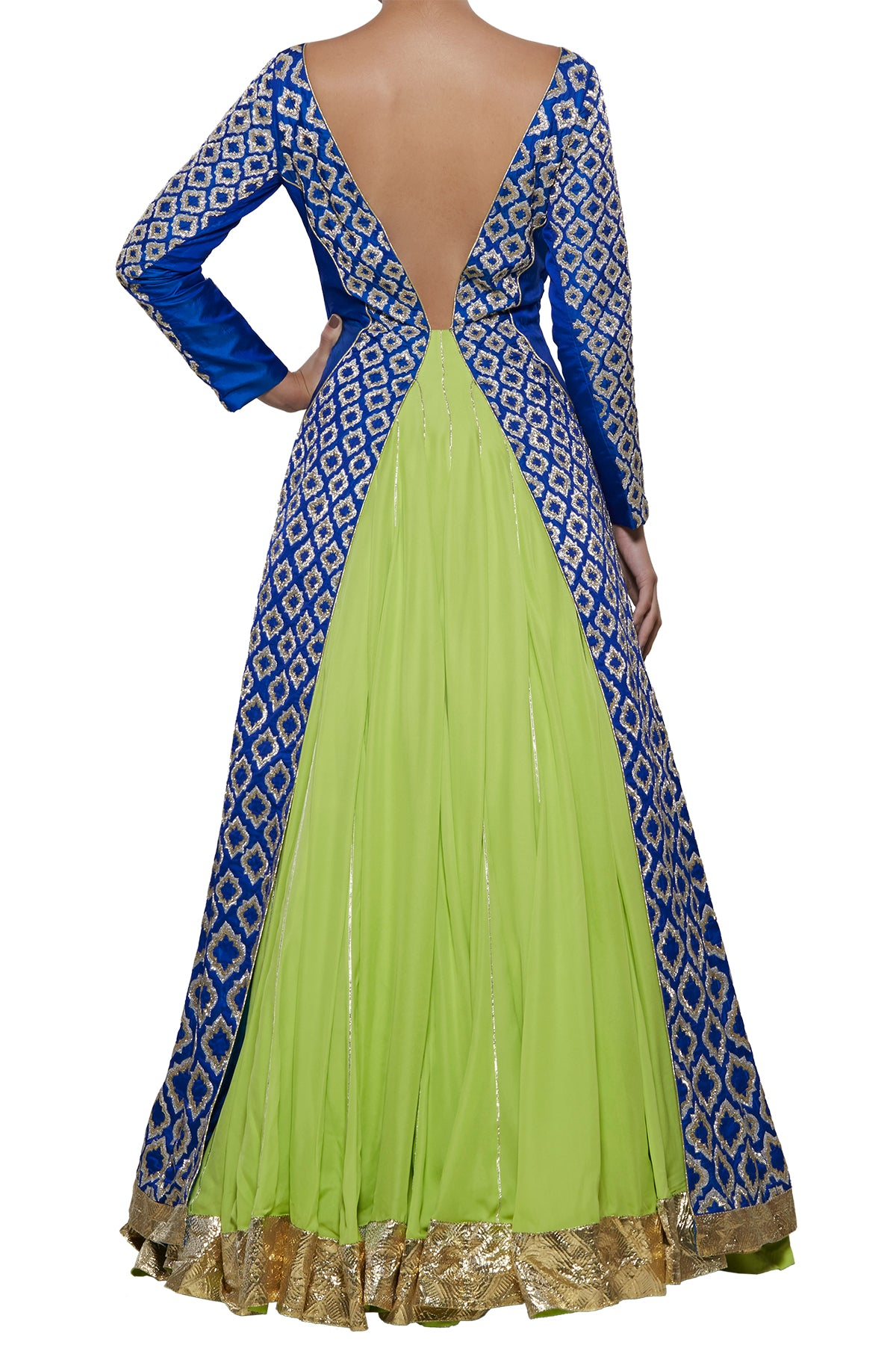 Blue Green Embroidered Gown