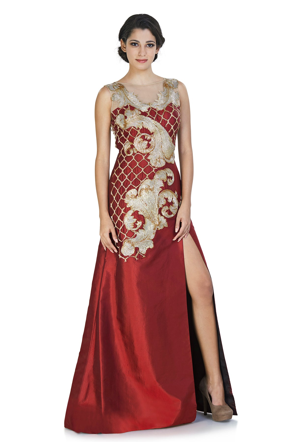 Maroon Embroidered Gown With High Slit