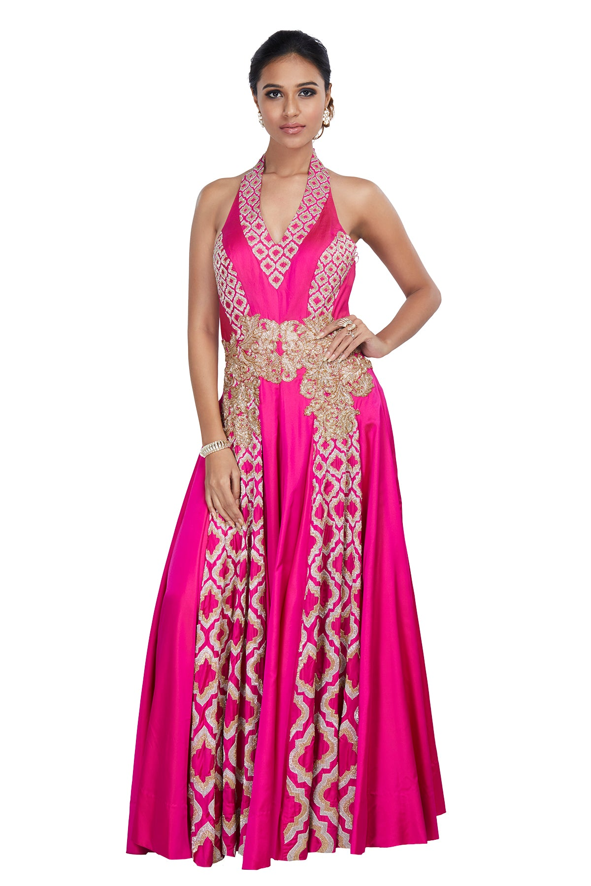 We pinky swear that this one's a keeper! Write your own Cinderella story in this pink halter two-tone silk & skin colour net down with gold & silver kardana embroidery. This one is weaved to entice wonder.