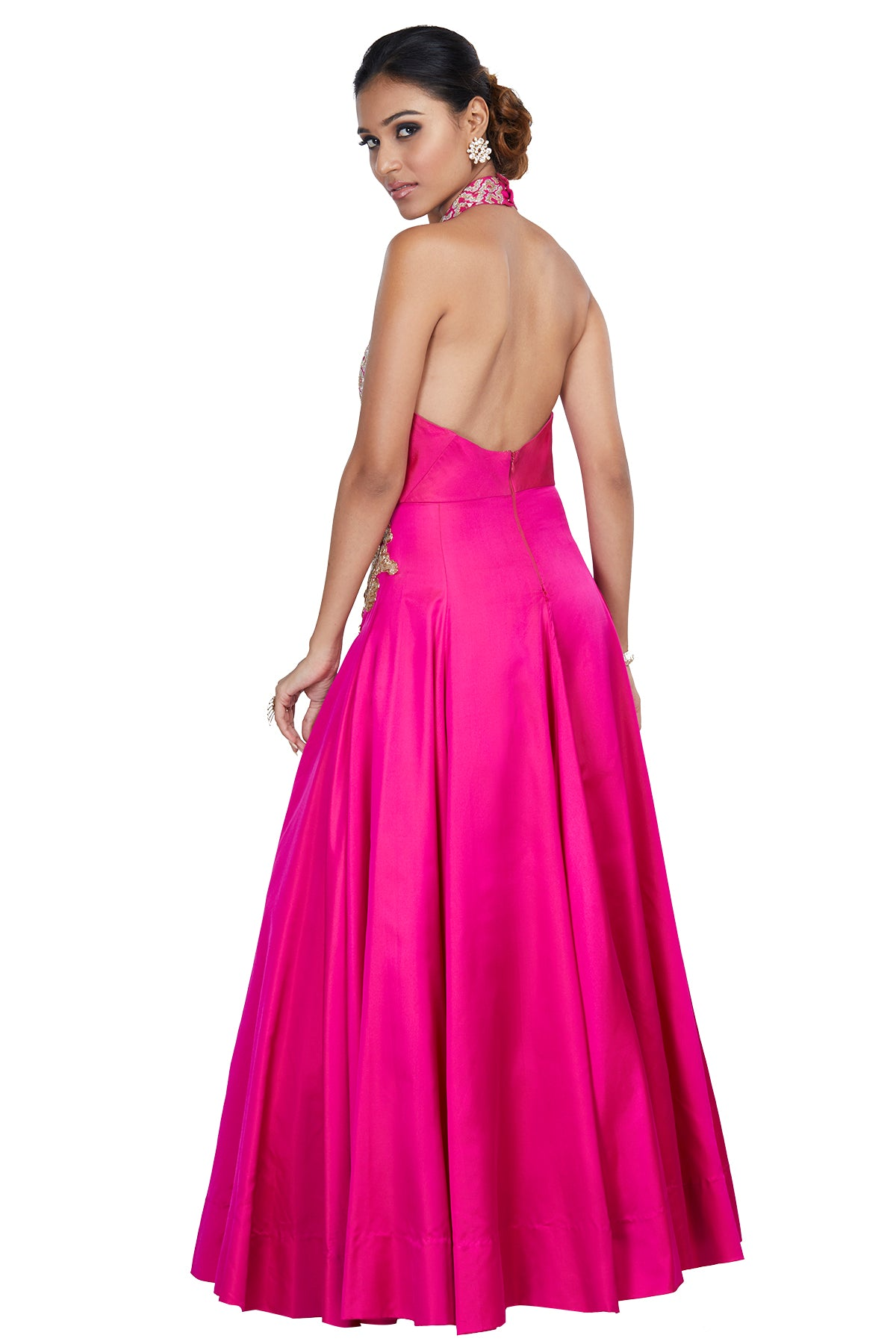Pink Embroidered Halter Gown
