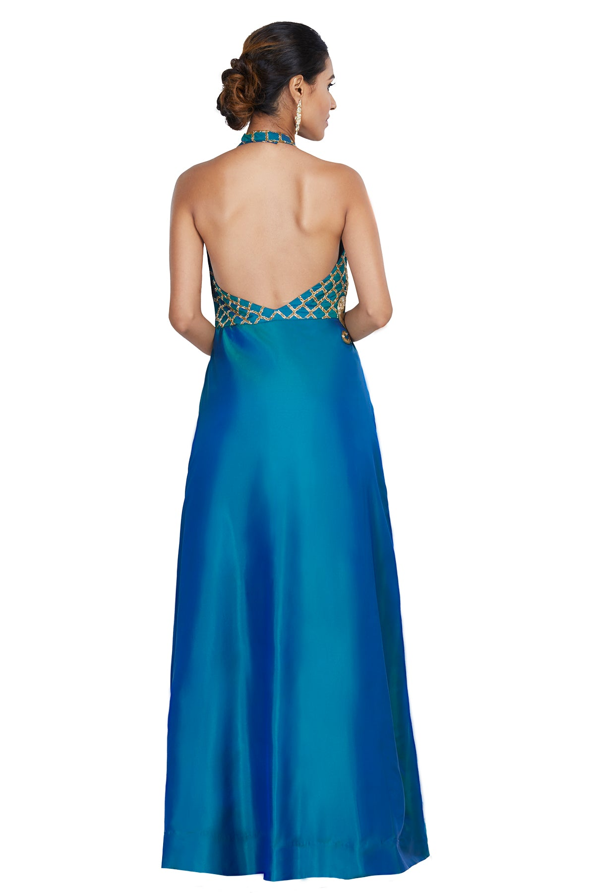 Sea Green Embroidered Halter Gown