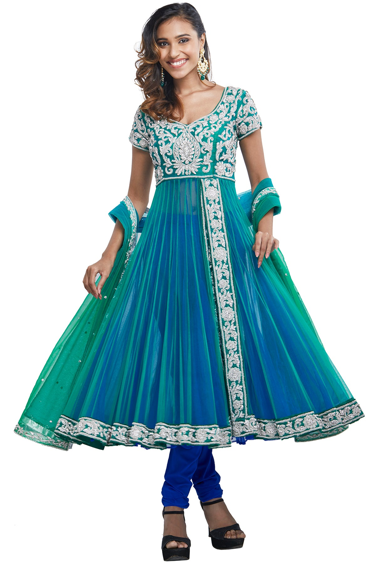 Blue Green Double Layered Anarkali Set