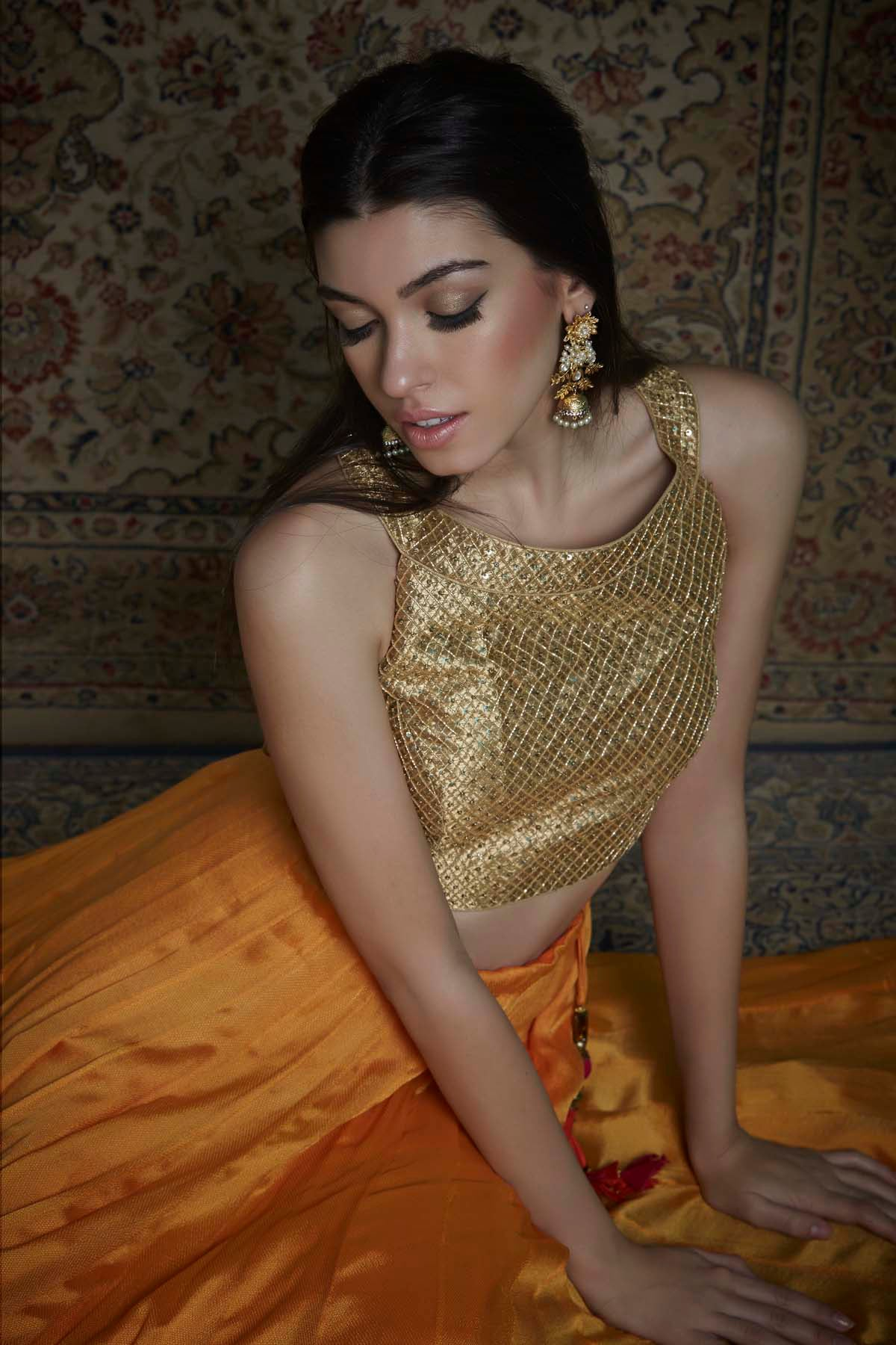Gold Blouse With Saffron Lehenga Set