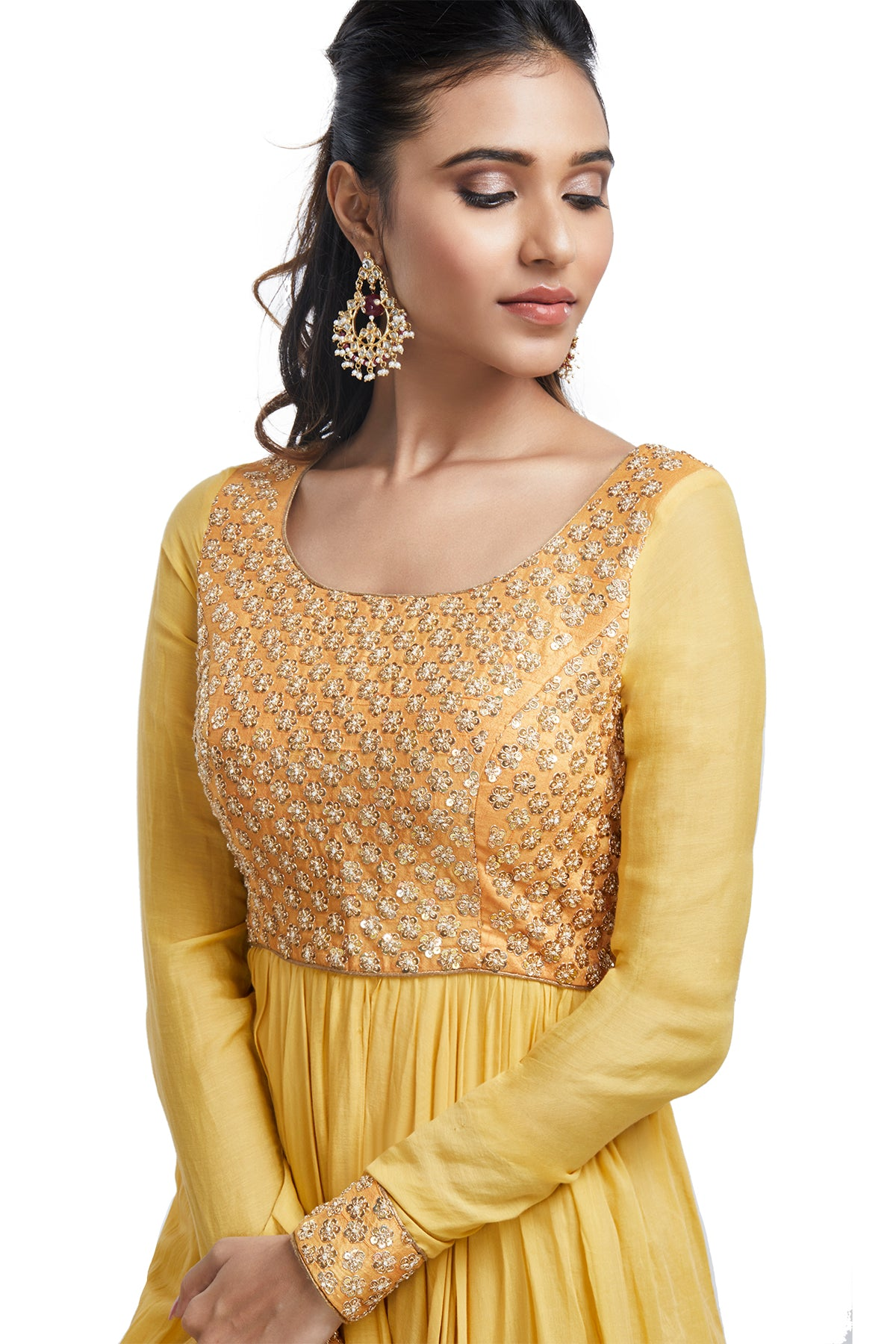 Mustard Anarkali Set with Embroidered Body