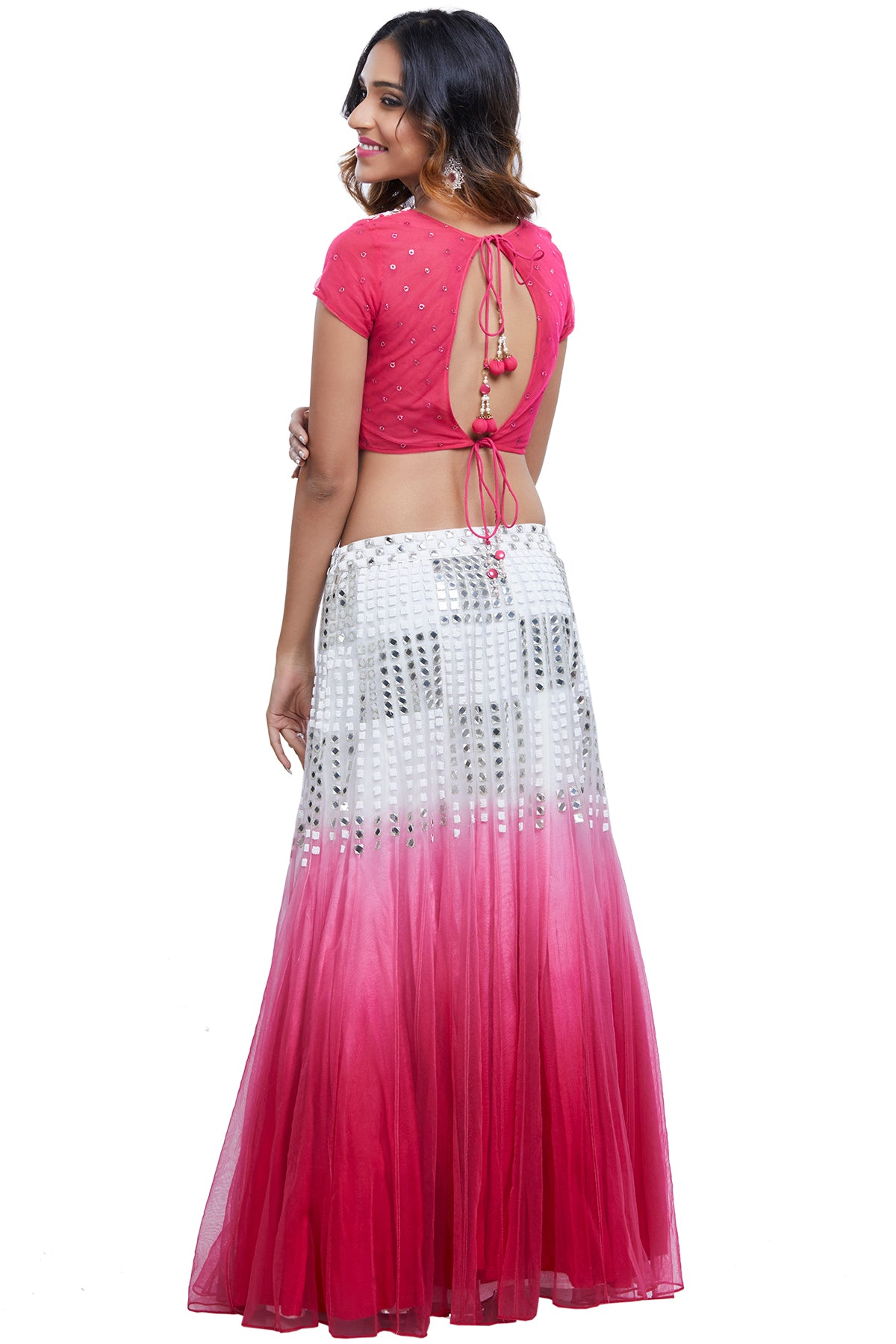 Pink And White Ombre Mirror Lehenga Set