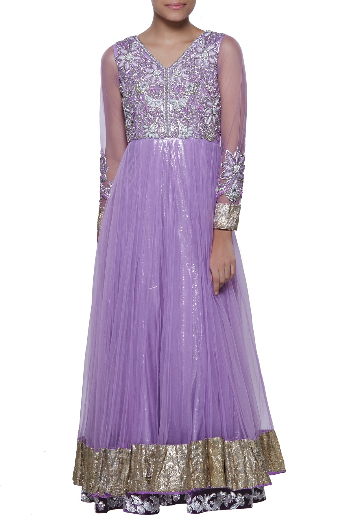 With a mirage of pearl stones, a lilac embroidered bodice and full sleeves in net - glide into your next traditional function with grace. Seal the deal with the outfit's gota border which makes it stylish head to toe.