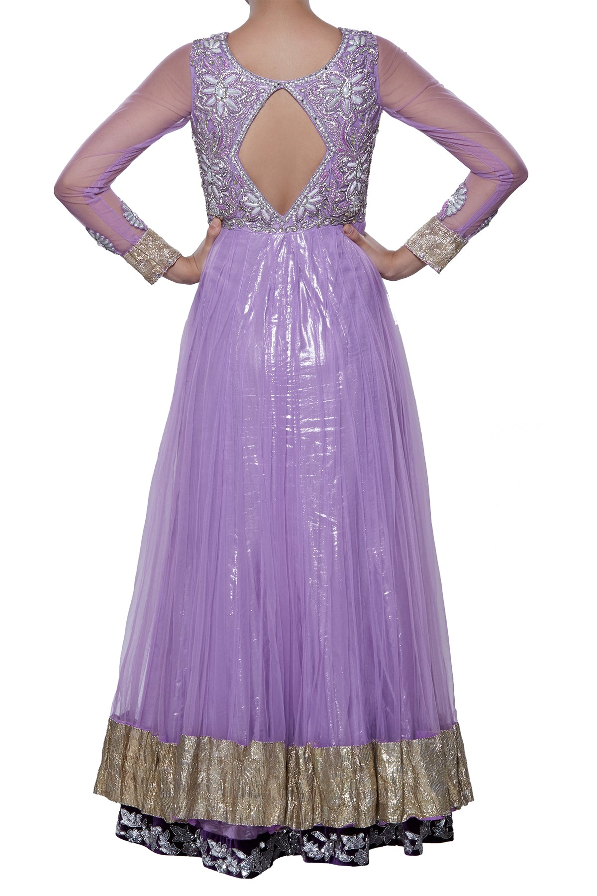 Purple Double Layered Anarkali Gown