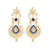 Entwined with a cut of the ages and a flair of the future, these long chandelier earrings keep it chic with blue enamel work, kundan setting, and dangly pearls.