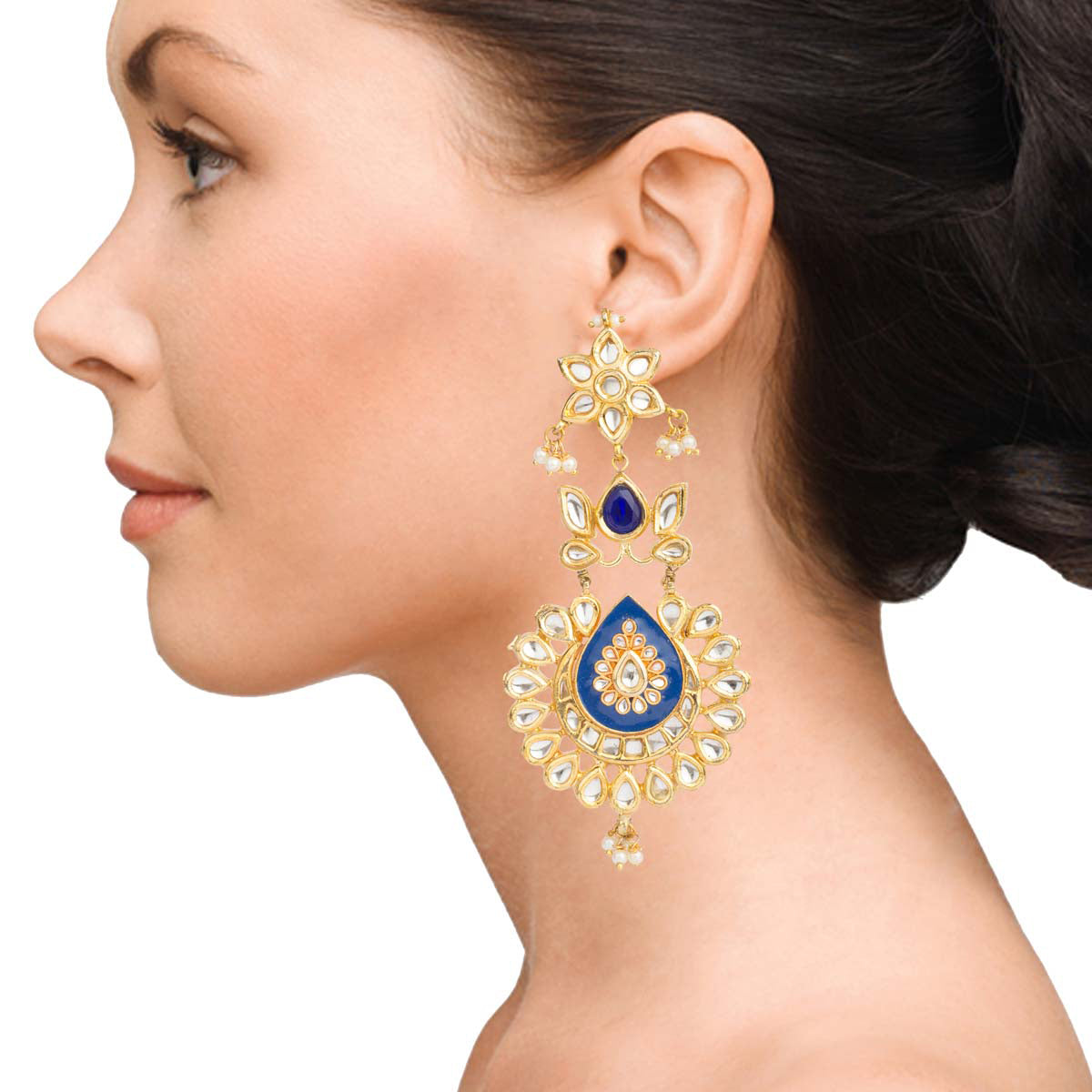 Blue Chandelier Kundan Earrings