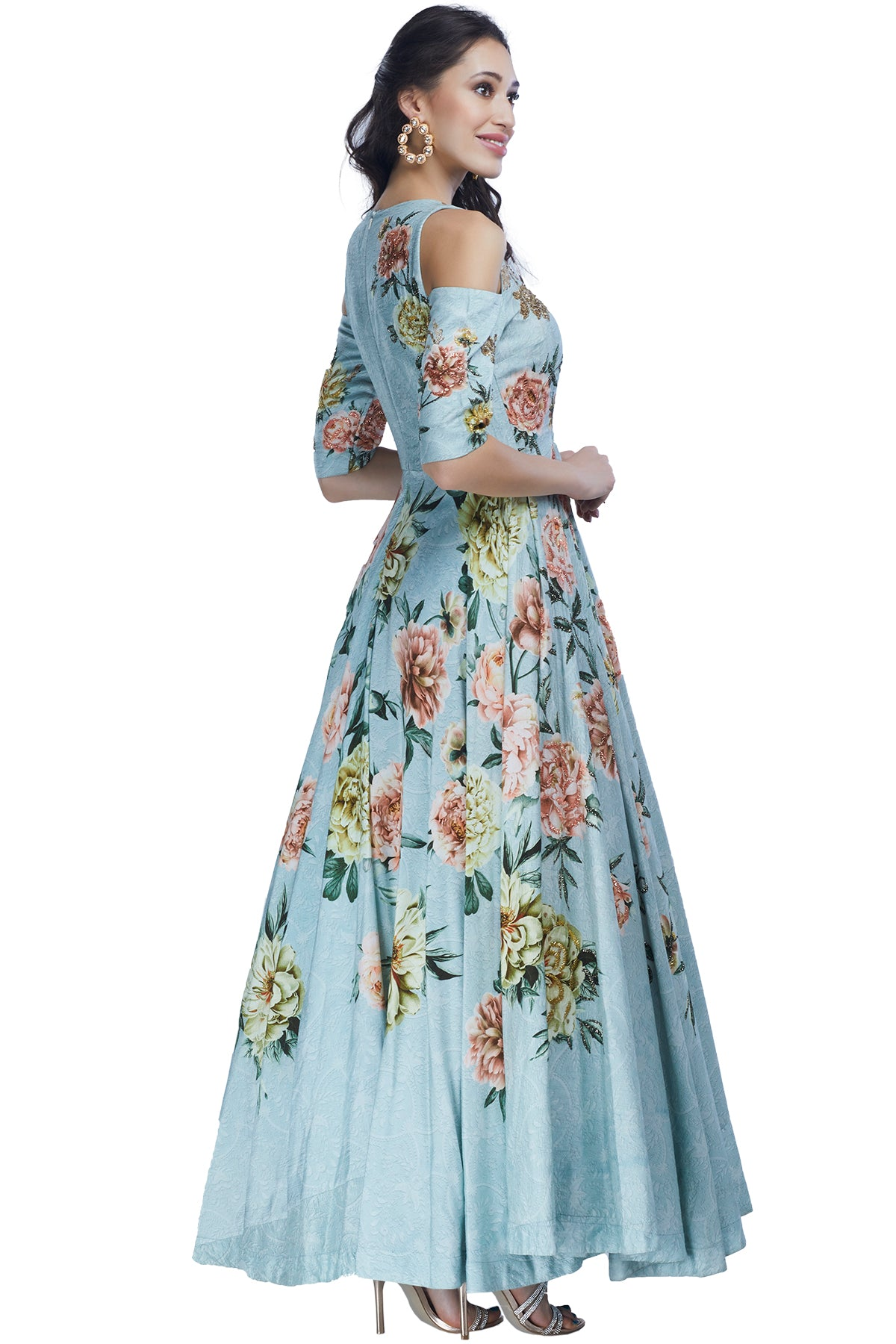 Sky Blue Printed Floral Gown