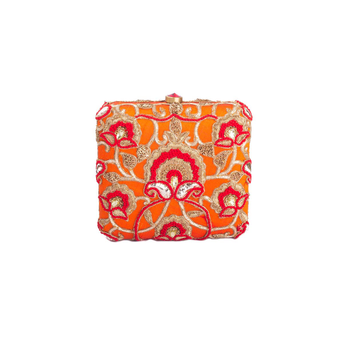 There's tons to brag about our Lovetobags! This deep orange clutch with red threadwork, zardosi embroidery and mukesh work detailing strikes all the right silhouettes at once.