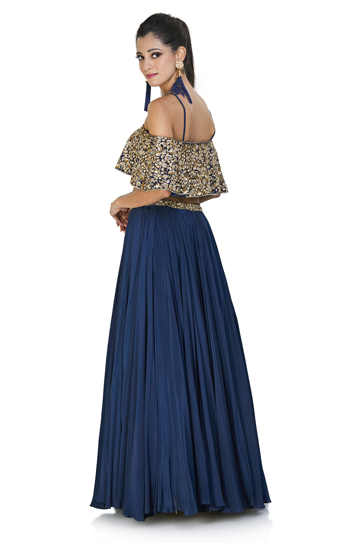 Embellished navy blue crop top and skirt