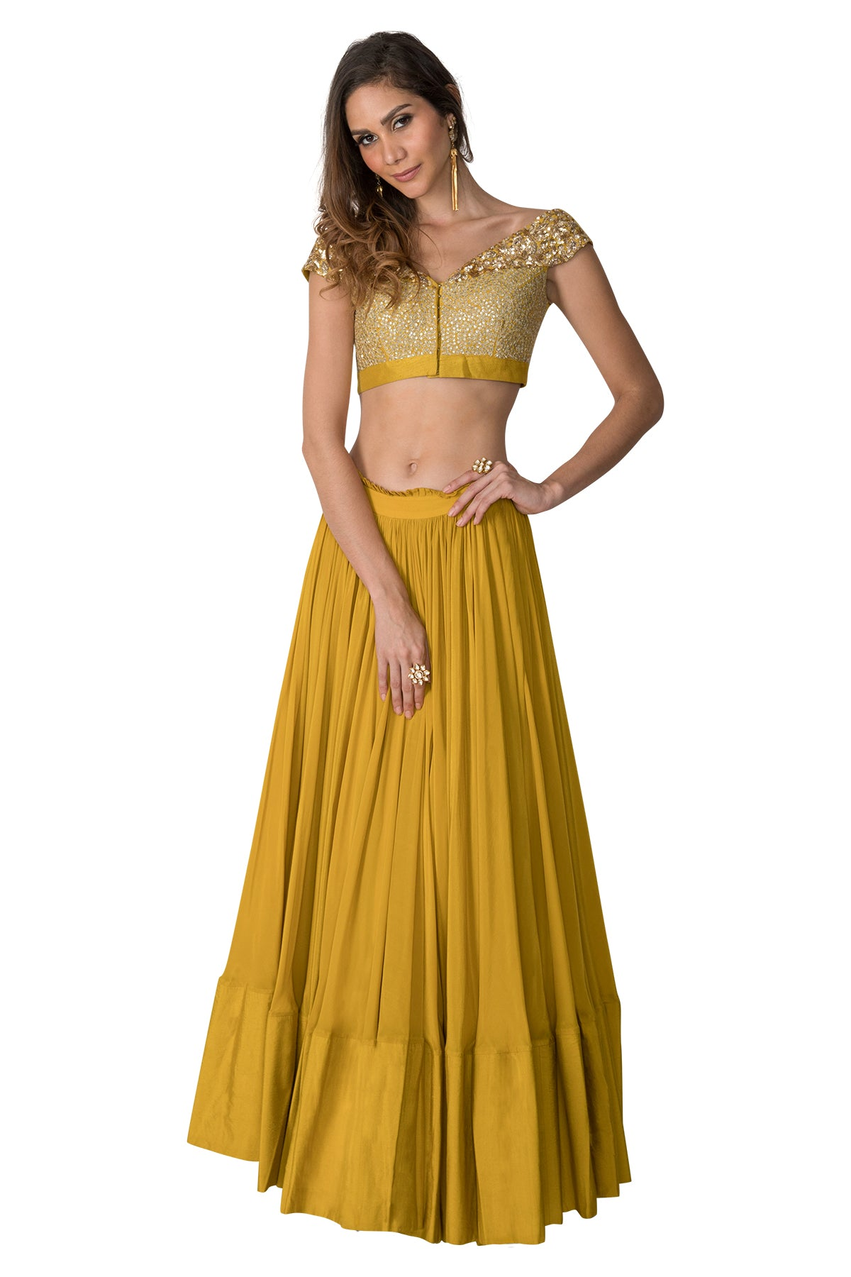 Lime Green Off Shoulder Lehenga Set