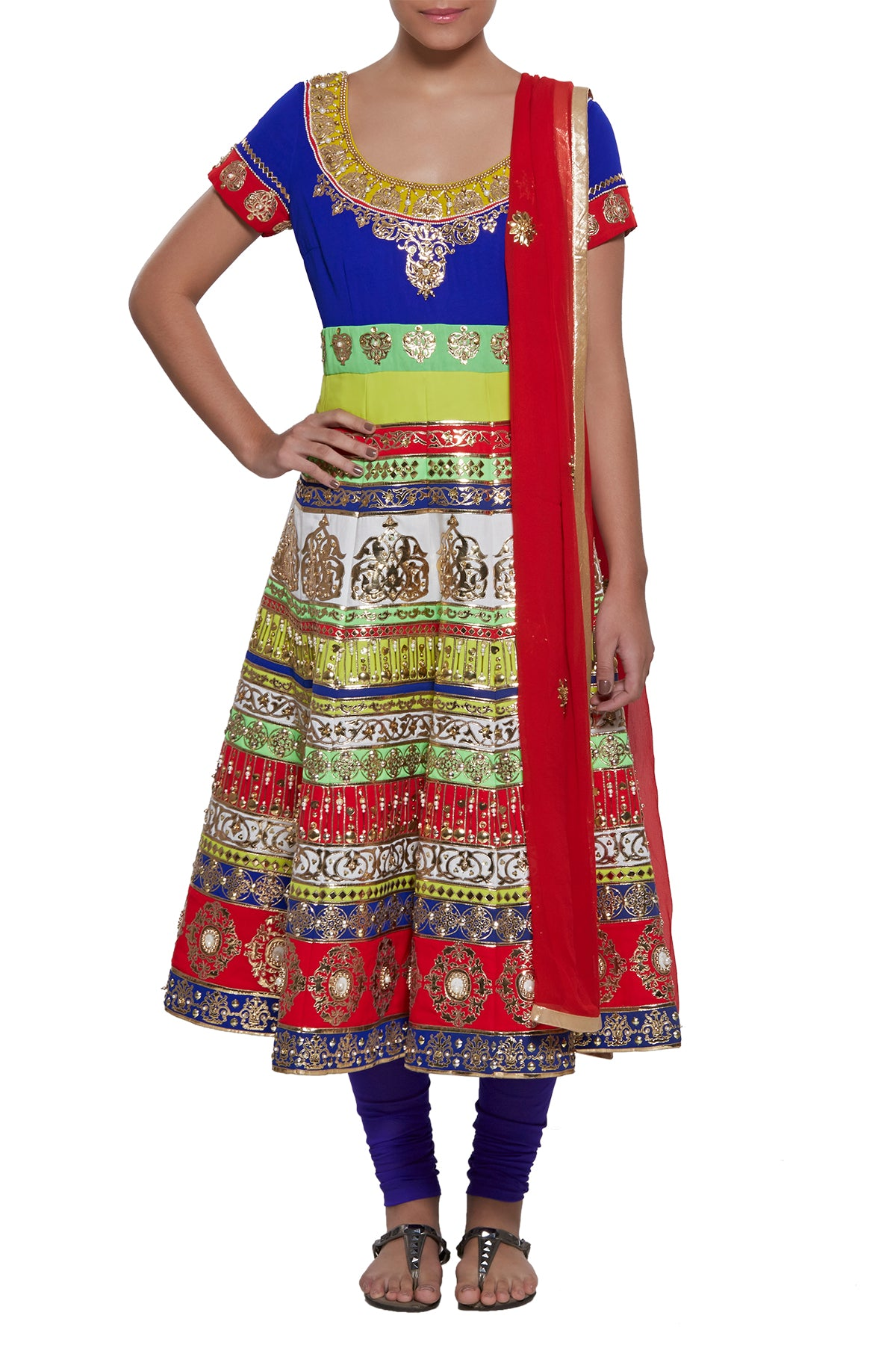 Embrace a riot of colour to reflect our rich traditions in this sensational tiered anarkali by the genius himself - Manish Arora. Garnished with gold appliqué and bead work all across, this one will light up every room you walk into.