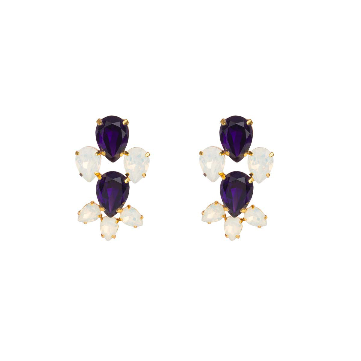 Dynamic in their dimensional design - turn your diva up with these gold plated earrings encrusted with white opal and purple Swarovski elements.