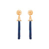 Set the dance floor ablaze in these beaded tassel earrings in deep blue cascading from gold. pearl and crystal-encrusted studs.