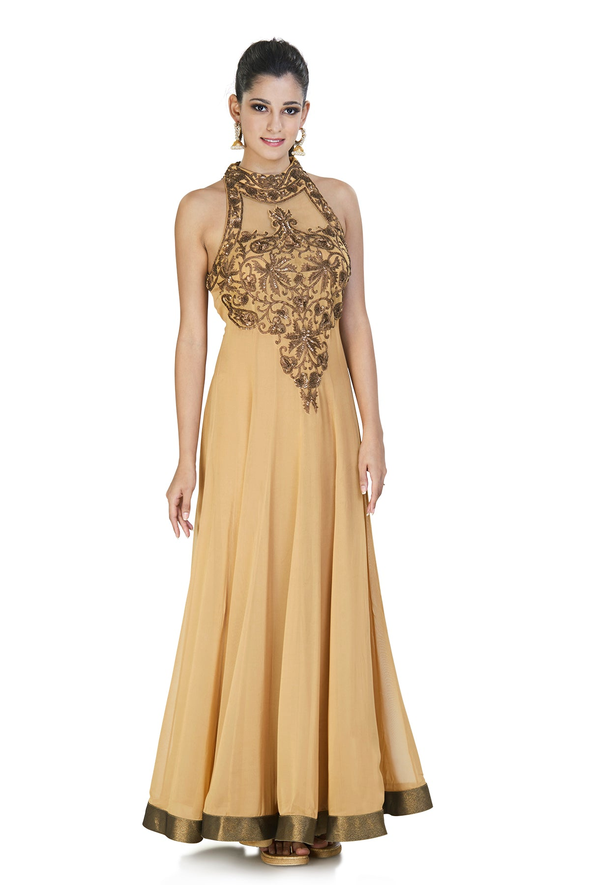 Guilded with gold and finished with grace, this gold gown is crafted with bronze work on the neck panel and a striking bronze trim.
