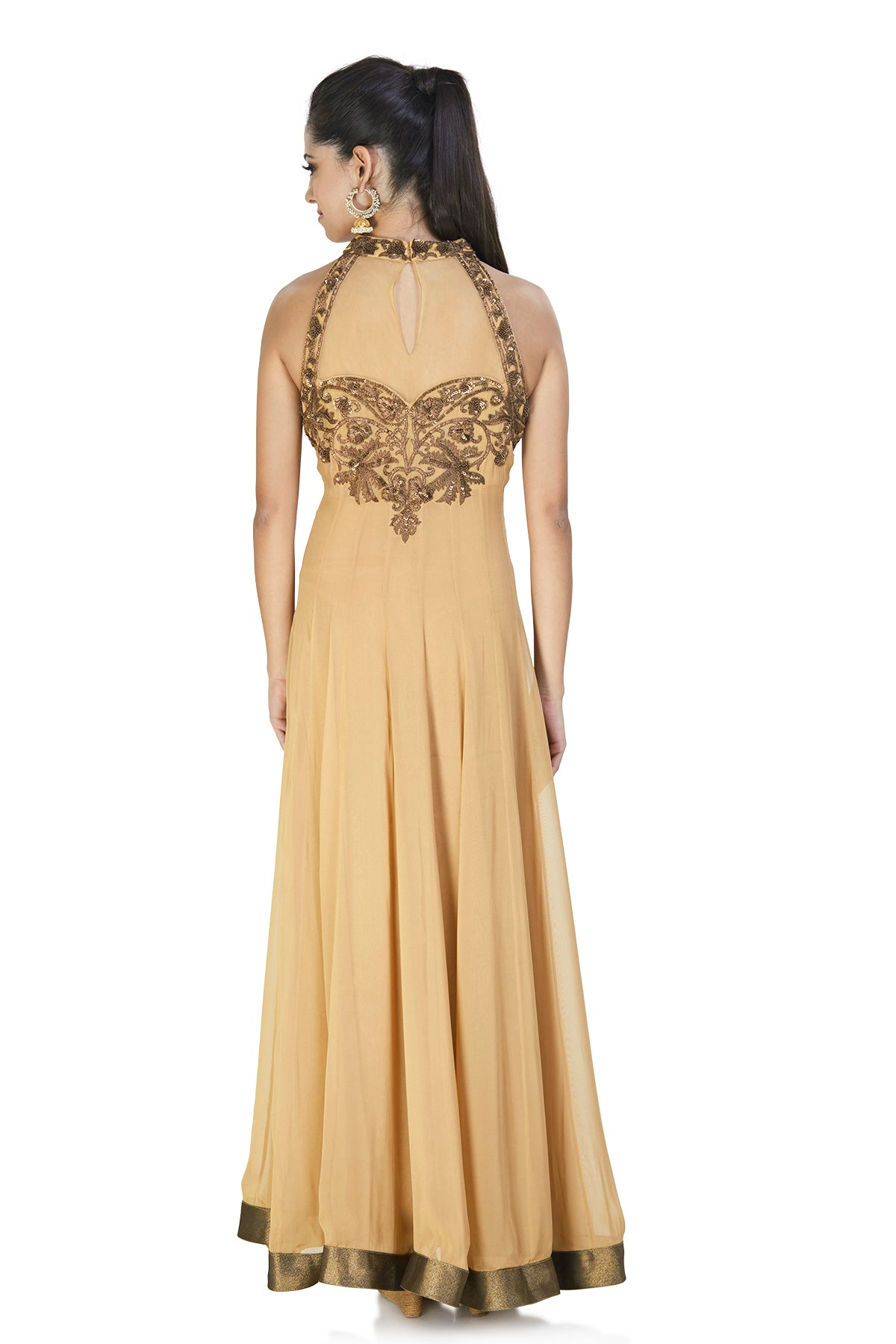 Sleeveless bronze gown