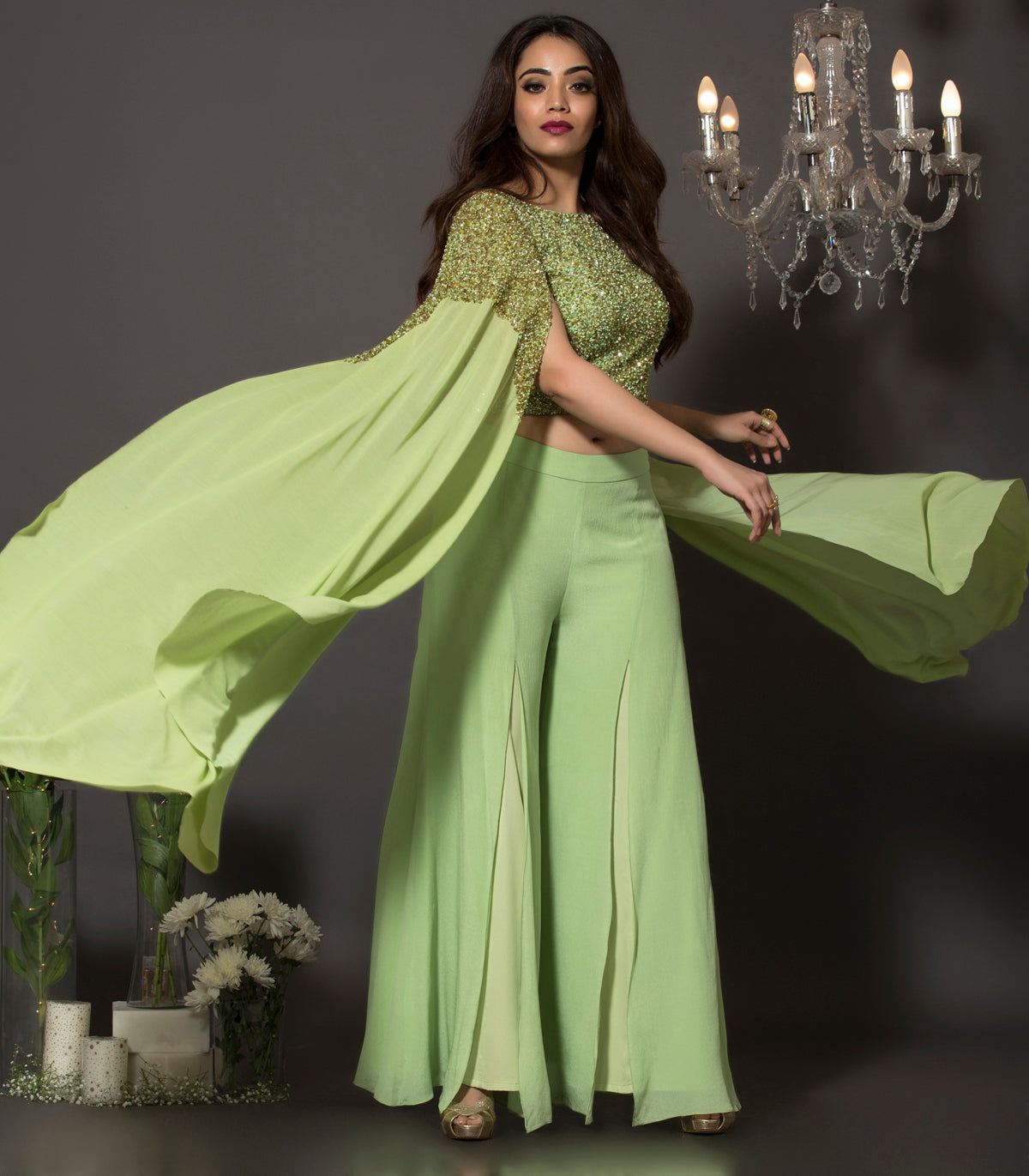 Pista green cape set