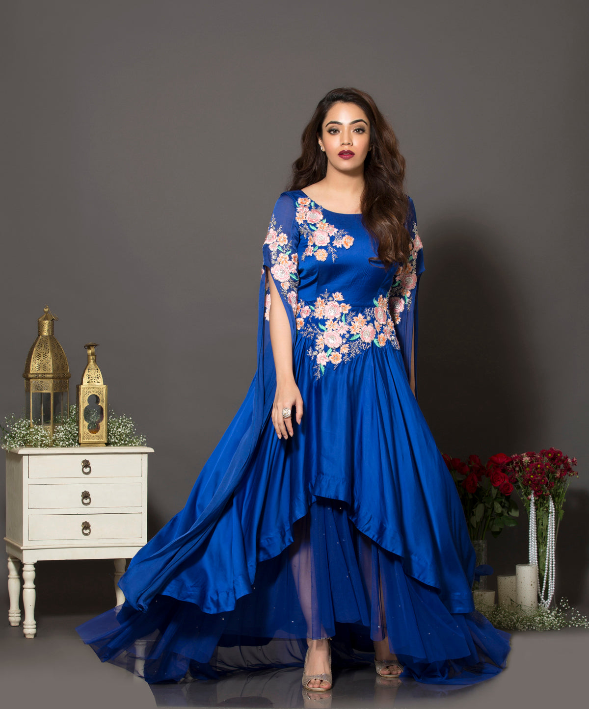 Royal blue cape sleeve gown