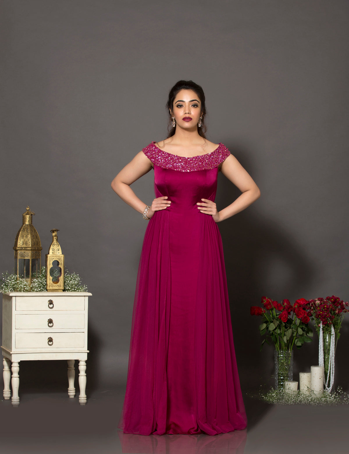 Wine off-shoulder cocktail gown