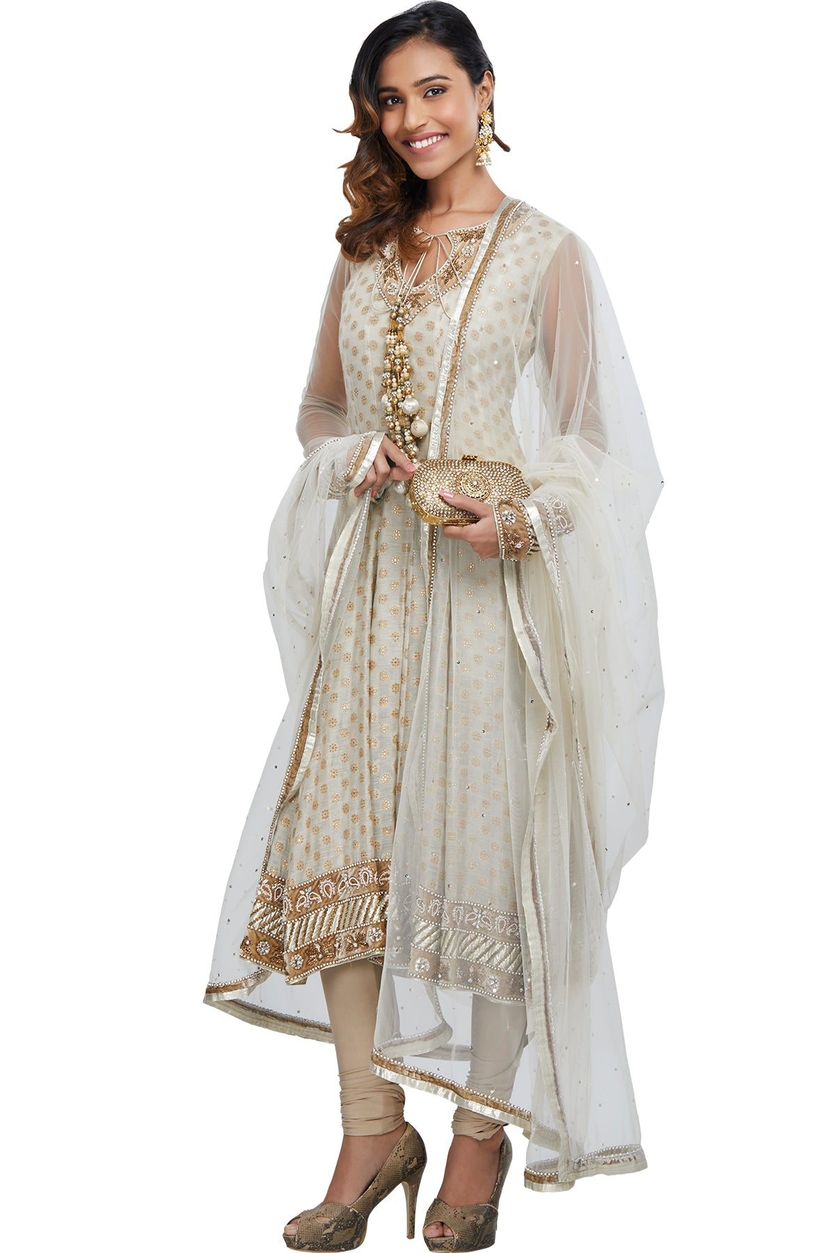 Off-White Anarkali Set