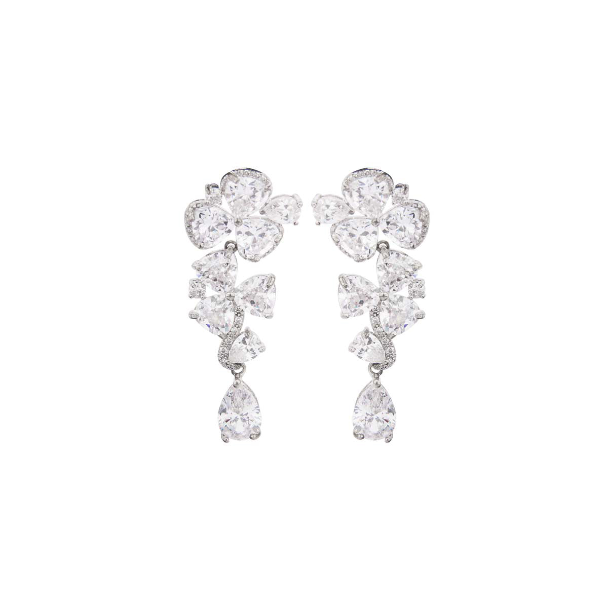 Wish upon the stars with this smashing pair studded with triangle & marquise crystals in a floral shape with a sheen silver finish.