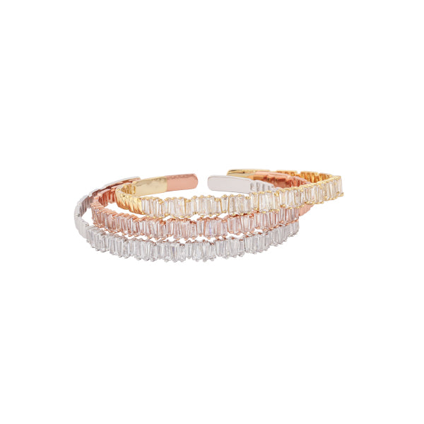 Gold Baguette Crystal Cuff