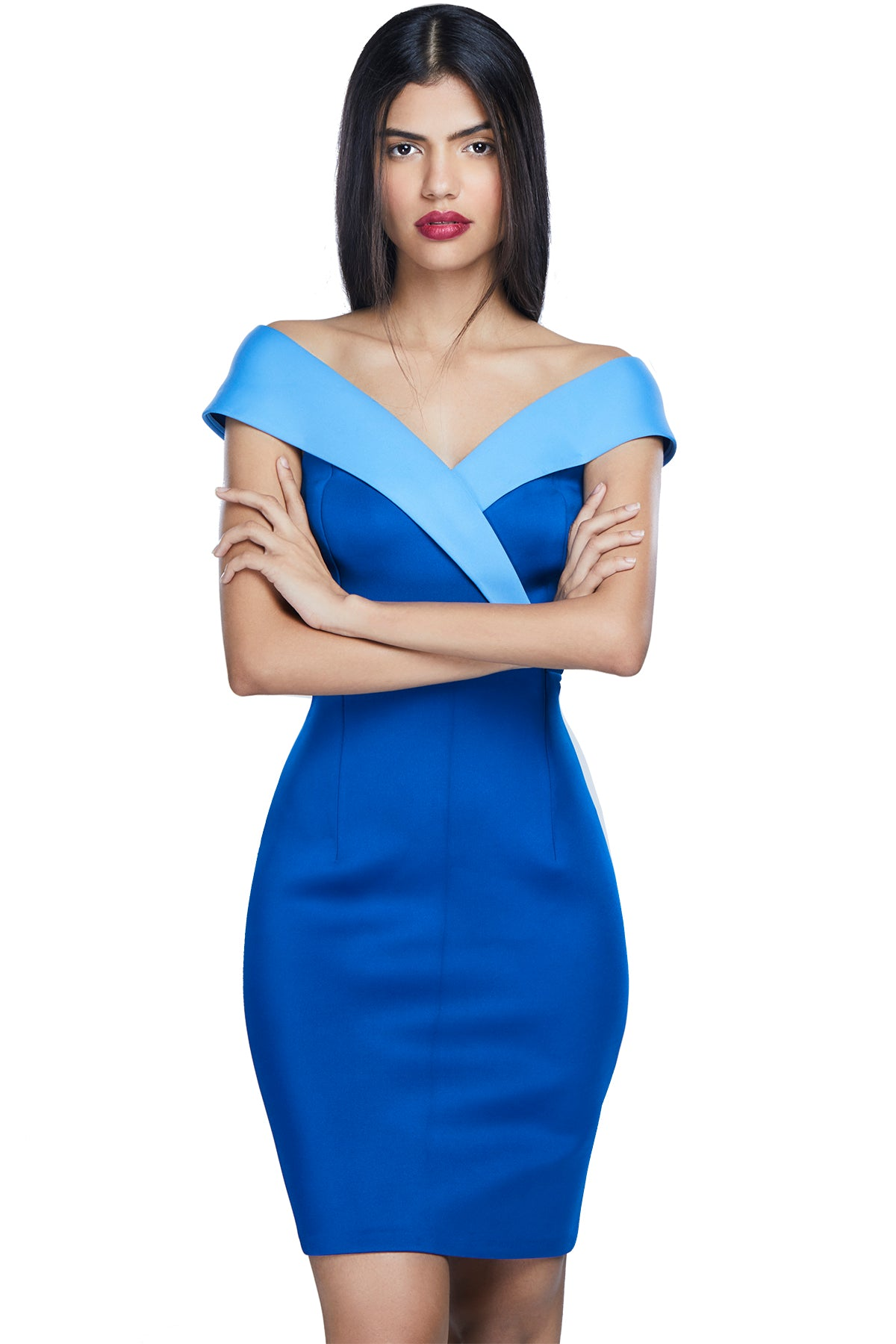 Go bodycon, go bold or go home! Like a bolt from the blue, this off-shoulder, double scuba dress is perfect for an office party, date night or grad ceremony.