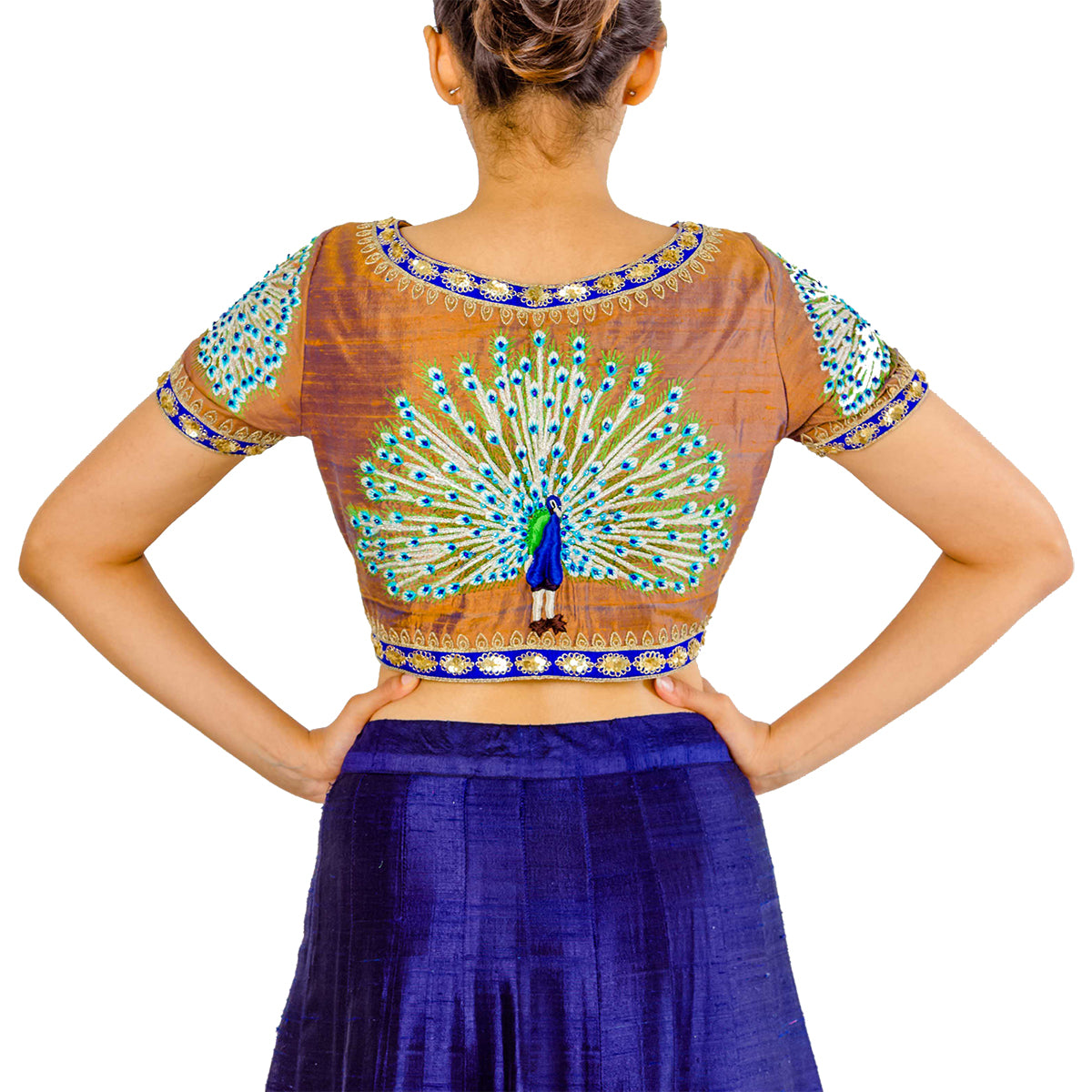 Copper And Blue Silk Peacock Blouse