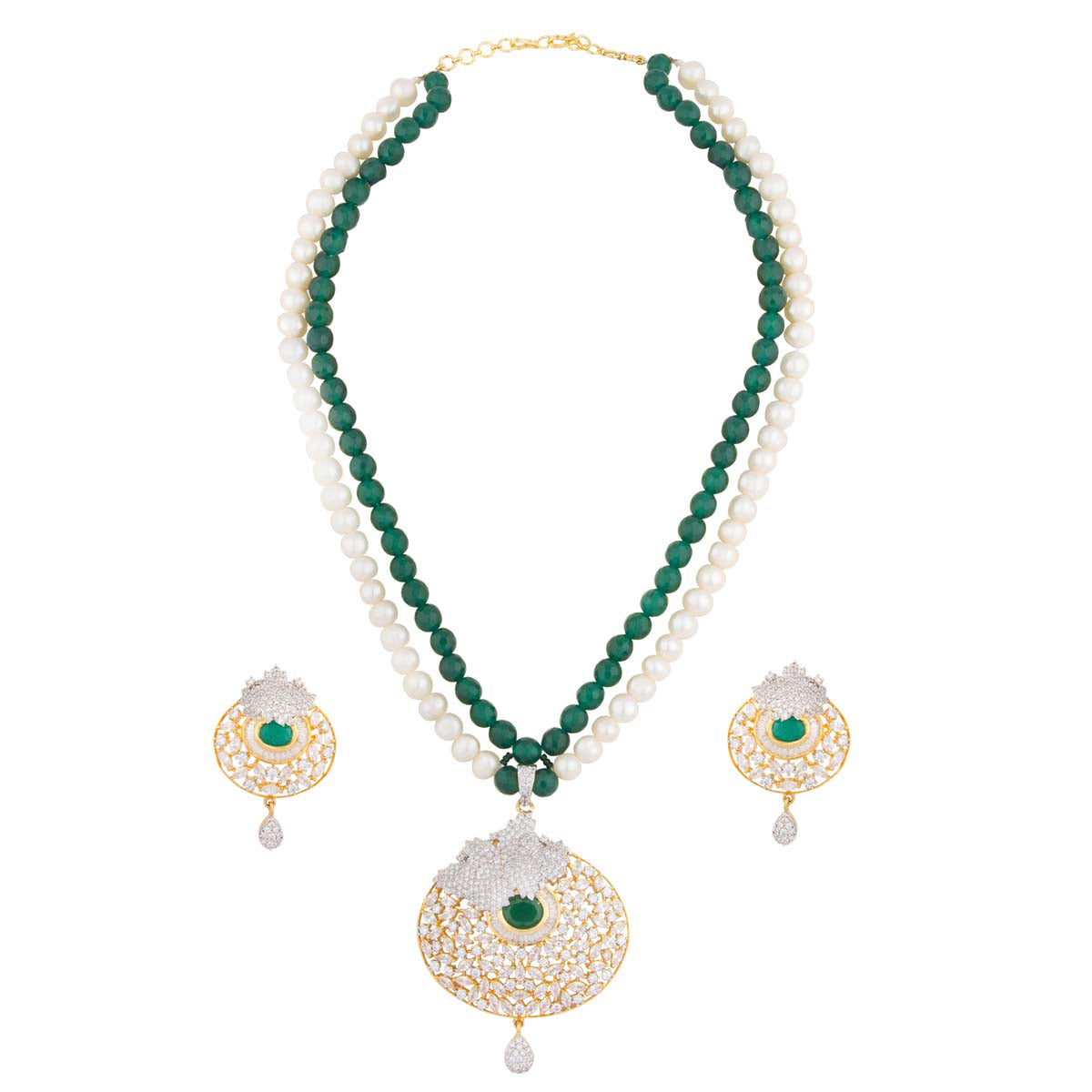 You'll be all set for the fashion police in this one! Our pearl & emerald stone necklace with a crystal emerald pendant has matching earrings and is your all accessory pass to style.