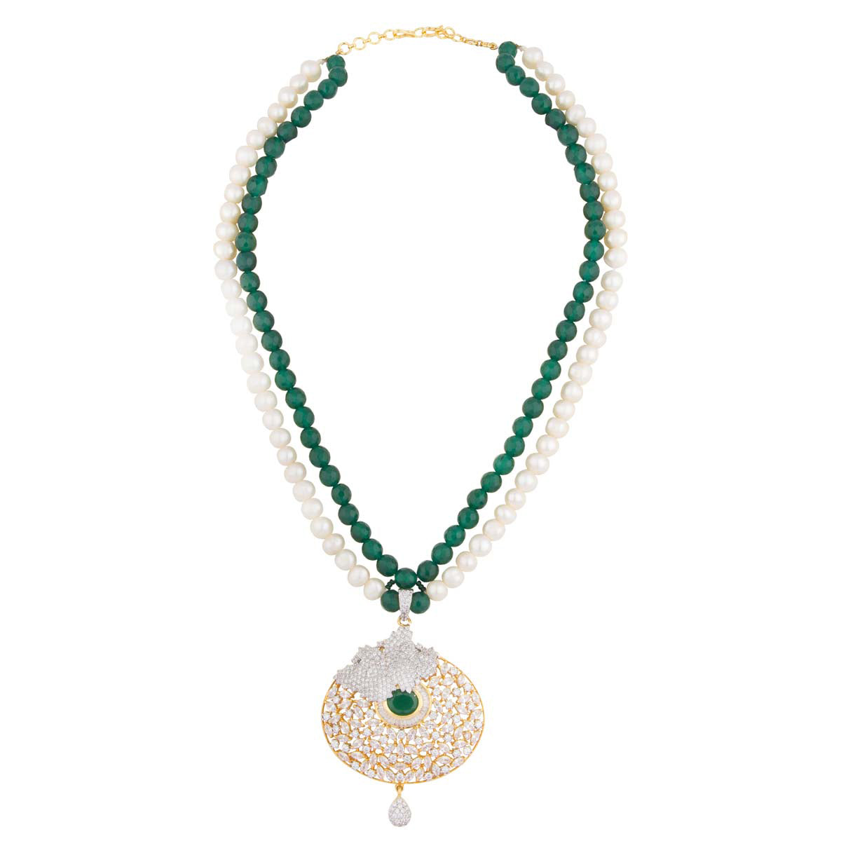 Crystal, Pearl and Emerald Pendant Necklace Set