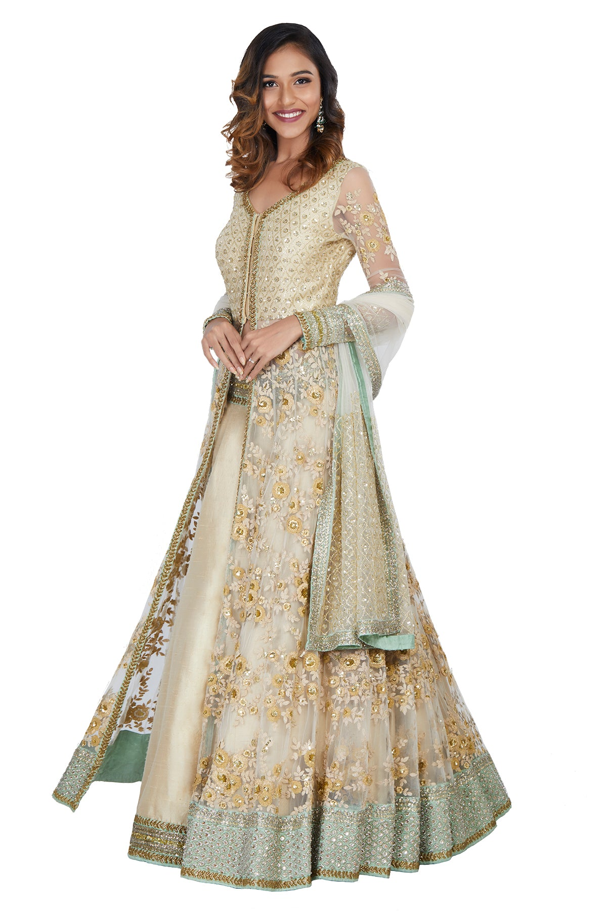 Gold And Mint Green Embroidered Lehenga Set