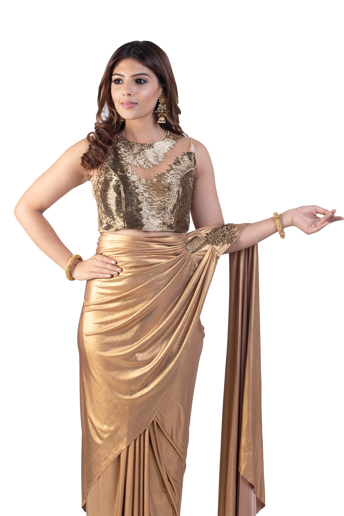 Golden Pre-Stitched Saree With Matching Beaded Blouse